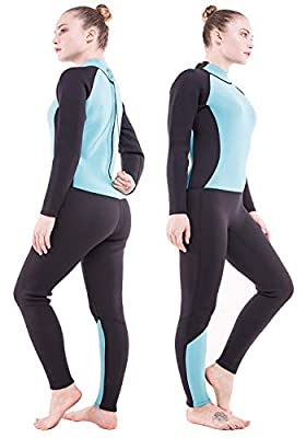 DEHAI Men Women's Full Wetsuits Thermal Suit Sleeves 3mm Neoprene Youth Adult's Diving Swimming Snorkeling Surfing Scuba Jumpsuit Warm Swimwear(Women Fullsuit/Lake Blue,XS)