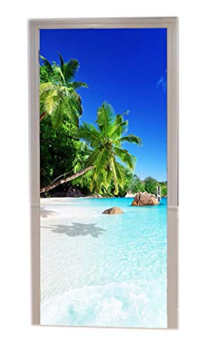 A.Monamour Türtapeten Selbstklebend 3D Strand Bei Praslin Island Tropischer Kokosnussbaum Blauer Ozean Naturlandschaft Türtapete Türposter Tapete 77x200cm