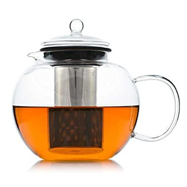 JCPKitchen Glass Teapot Removable Stainless Steel Infuser - Borosilicate Glass Stovetop Safe Tea Pot Tea Strainer Set, 50 Ounce / 1500 ml, Tea Maker Kettle Loose Leaf Iced Blooming Flowering Tea