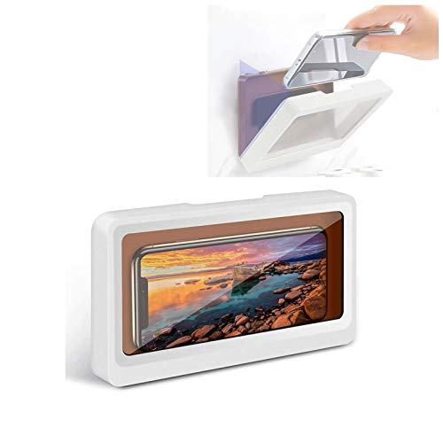 Shower Phone Holder Waterproof, Bathroom Touch Screen Waterproof Mobile Phone Holder Box-Mobile Phone Holder Case for Phones Under 6.8 Inches