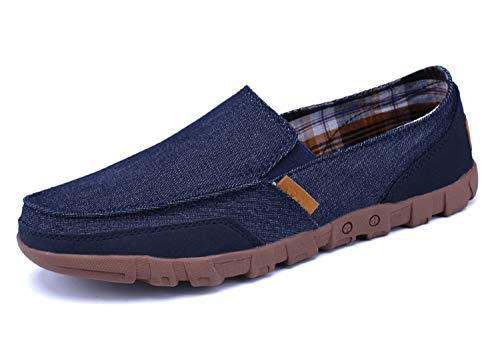 Gaatpot Herren Segelschuhe Bootsschuhe Mokassin Seakers Fitnessschuhe Freizeitschuhe Deckschuhe Canvas Slipper Halbschuhe Shoes Blau 38EU/39CN