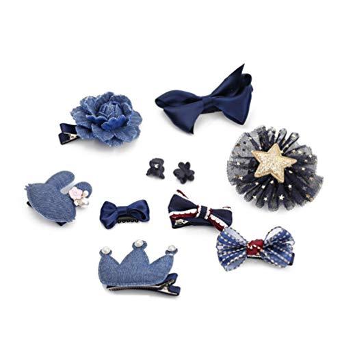 Lurrose 10 paires d 'arcs mélangés, de fines coiffures, de broches pour l' anniversaire de la fille, bleu technologie.