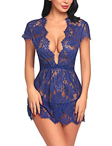 ADOME Reizwäsche Dessous-Sets Lingerie Damen Sexy V-Ausschnitt Nachthemd Spitze Negligee Unterwäsche Set Erotik Sleepwear Kleid,Bblau,S
