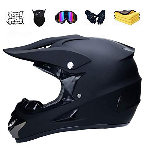XIAOL Motocross Helm mit Brille, Unisex Fullface Cross Helm Downhill Quad Enduro ATV Motorrad Schutzhelm für Herren Damen, Road Motorradhelm Crosshelm Set Handschuhe Maske (L)