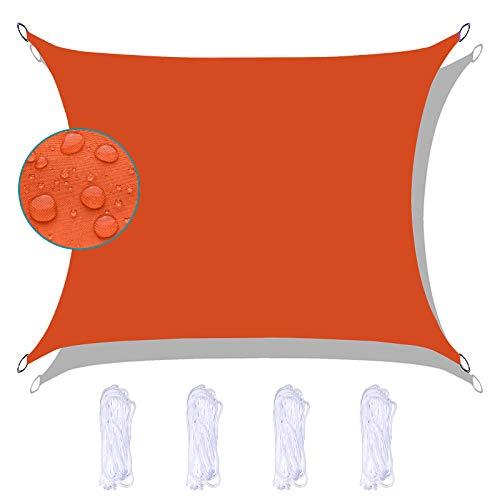 FFDL Sun Segel Sonnensegel 3X5M, Wasserdicht Sonnenschutzsegel Wasserdicht Feuchtigkeitsbeständig Inkl Befestigungsseile Oxford Stoff für Schwimmbad Orange
