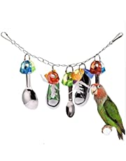 Parrot Chew Toy Sports Shoes Metal Spoon String Standing Supplies shoes and Spoon Toys Bird Accessories