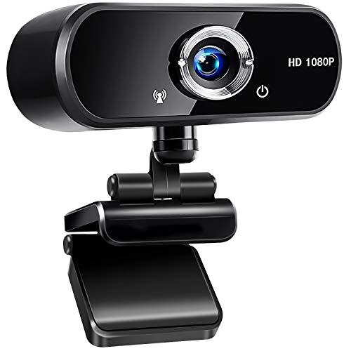 Jojobnj Webcam PC con Microfono, USB 2.0 Webcamera 1080P Full HD, 360 Gradi Webcam per Video Chat e Registrazione, Conferenze, Studi, Videochiamate, Lezioni Online e Giochi