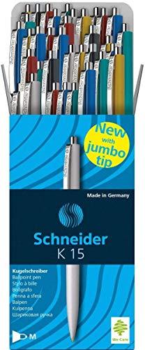 Schneider K15 Druckkugelschreiber (dokumentenechte Mine - Strichstärke M) 50 Stück Sortiert