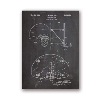 Basketball Ziel Basketball Wandkunst Raumdekoration Retro Blueprint Coach Geschenk Kreative Wanddekoration 30x40cm