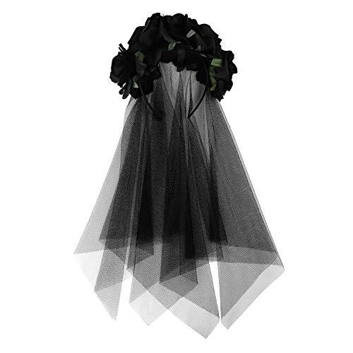 Diadema de flores rosa con velo negro para Halloween, diadema de mujer, guirnalda floral vintage, cubresera gótica medieval, fiesta festival, disfraz, accesorio para el cabello