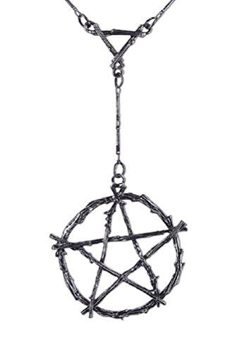 Collar Gótico de Restyle con Pendiente de Ramas que forman el Símbolo Pentagrama Ocultismo