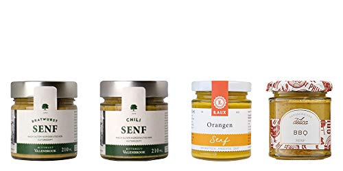LAUX® Senf Mix – Feinkost Set – 4 x Feinkost Senf – Hochwertige Zutaten & Geschenk