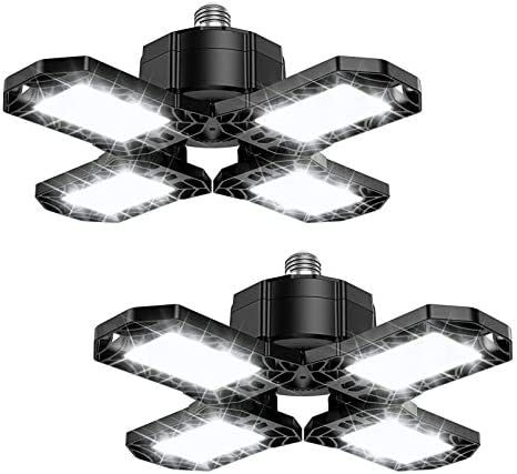 120W LED Garage Lights 2 Pack 12000LM 6500K Deformable LED Garage Ceiling Lighting Fixture with product image