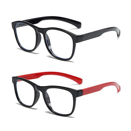 2 pares de gafas de bloqueo de luz azul para niños, antifatiga ocular, para juegos de ordenador, reloj de televisión, teléfono para niños y niñas de 3 a 12 años (negro y rojo)