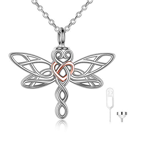 POPLYKE Dargonfly Urn Necklace for Ashes for Women Sterling Silver Dragonfly PendantCremation Necklace Celtic Knot Irish Jewelery