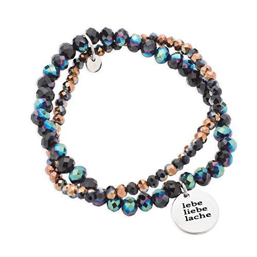 Spruchketten BY LIEBLICHKEITEN Spruch Glasperlen Armband Ø 6cm OneSize (Gummiband) dunkelblau-braun Edelstahlplättchen Ø 1,5 cm lebe Liebe Lache