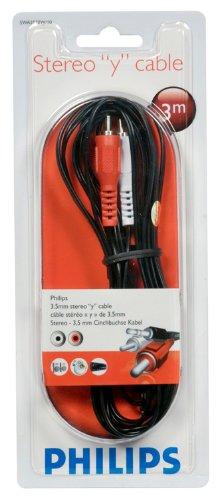 Philips SWA 2520 W/10 Stereo Audio Kabel (2x Cinch Stecker-3.5 mm Klinke) 3,0 m rot/weiß