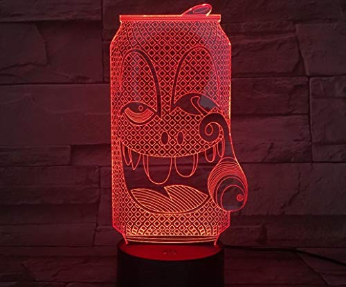 3D Illusion Lamp Remote Control Night Light Funny Cartoon 3D Lamp Beer Bottle Red Wine Glass Night Light Touch Sensor Color Changing Home Bar Party Table Decor Gift