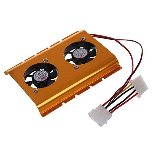 SODIAL(R) Oro tono 3.5 'Hard Disk Drive HDD doppia ventola di raffreddamento del dispositivo di raffreddamento del PC desktop