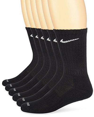 Nike Dri-FIT Crew - Calcetines (talla mediano, 6 pares), color negro y blanco - SX4446, Medium, Negro/Blanco