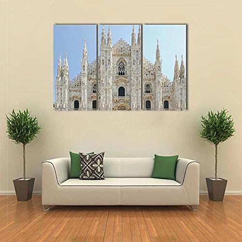 WERSD 3 Pezzi Vista Frontale Duomo del Duomo del Duomo di Milano Stampe Quadri Tela 3 Pezzi Immagine Parete Camera Divano Sfondo Home Decor Arte Murale Stampe E Quadri