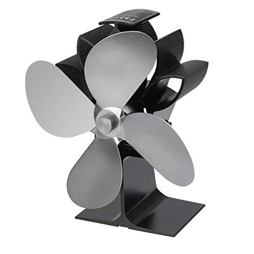 Koehope Stroomloze ventilator voor open haard, houtkachels, 2 vleugels rotorbladen open haard ventilator kachel kachel kachel kachel zonder stroom milieuvriendelijk 50-350 ° C 7,6x4,1x3in grijs