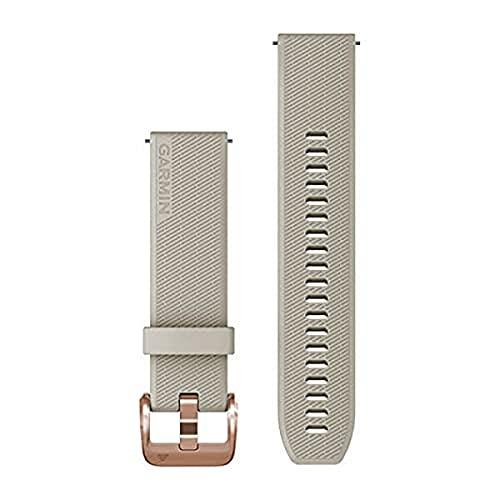 Garmin Correa de reloj de liberación rápida 20, silicona de arena ligera con hardware de oro rosa, (010-13114-02)