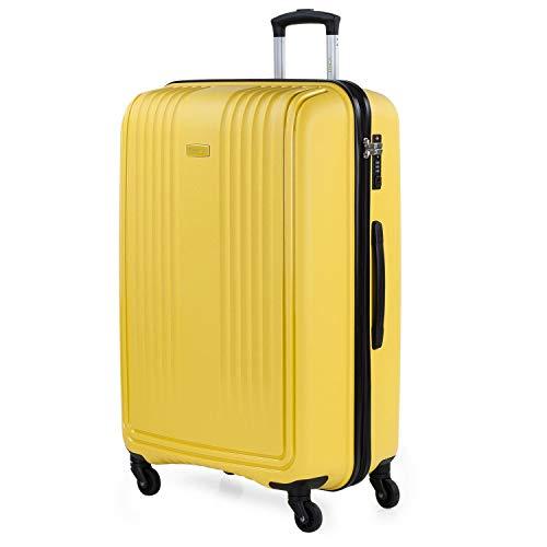 ITACA - Maleta de Viaje Rígida de Polipropileno con Cerradura de Seguridad TSA 4 Ruedas Multidirección Ligera y Resistente Ramaño Grande 760370, Color Mostaza