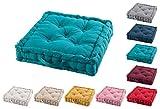 TIENDAEURASIA® Cojines de Suelo - 100% Algodón Lisa - Ideal para sillas, Bancos, palets, Suelos - Uso Interior y Exterior (Azul, 45 X 45 x 10 cm)