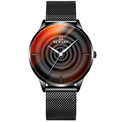 CHICAI Reloj de pulsera de acero inoxidable para hombre, color brillante, color de la marca de lujo, para hombre, color negro
