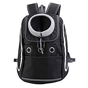 Mogoko Comfortable Dog Cat Carrier Backpack, Puppy Pet Front Pack with Breathable Head Out Design and Padded Shoulder for Hiking Outdoor Travel(Black)