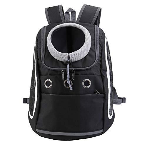 Mogokoyo Mochila cómoda para perros y gatos, mochila delantera para cachorros con diseño transpirable y hombro acolchado para senderismo al aire libre (Negro)