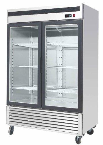 545 2 Door Upright Stainless Steel Glass Window Reach In Freezer Merchandiser Display Case MCF-8703 45 Cubic Feet Commercial Grade