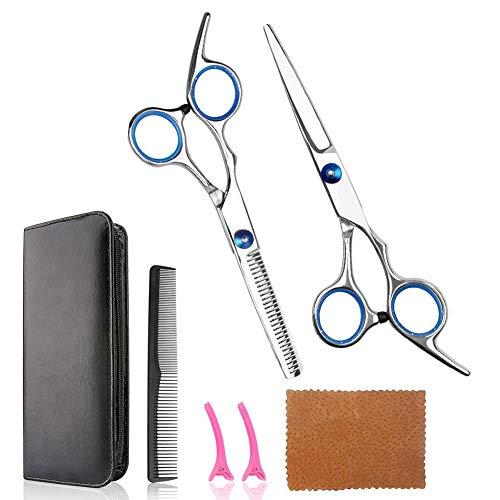 VieVogue haarsnijschaar, dunner wordende schaar, roestvrijstalen Barber Razor Edge Tools Set, Snor Schaar en Barber Schaar met Fijne Aanpassing Schroef