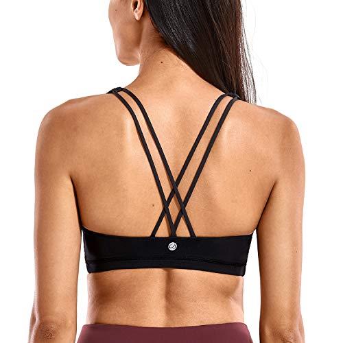 CRZ YOGA - Sujetador Deportivo Yoga Cruzados Espalda Sin Aros para Mujer Negro XS