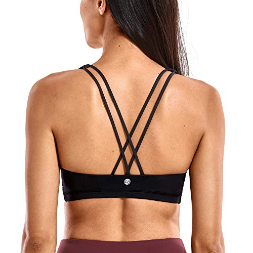 CRZ YOGA Women's Low Impact Strappy Sports Bra for Women Wirefree Padded Yoga Bra Tops Black-H101 X-Small