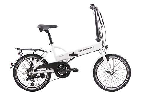 "F.lli Schiano E- Sky Bicicleta eléctrica Plegable, Unisex Adulto, Blanca, 20"""