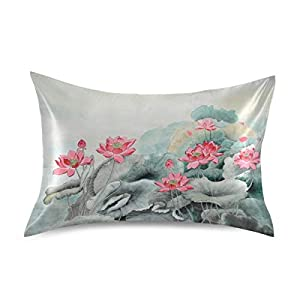 YKMustwin Satin Pillowcase for Hair and Skin Silk Pillowcase Standard Size Chinese Painting Flower Lotus Print Pillow Cases Cooling Satin Pillow Covers with Envelope Closure
