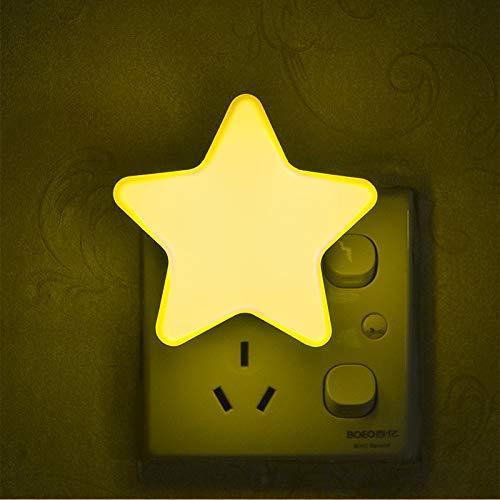 Nachtlicht Steckdose kinder LED Nachtlicht mit Dämmerungssensor baby Steckdosenlicht kinderzimmer Kindernachtlicht Nachtlichter Kinderlicht Schlafzimmer (Gelb Stern)