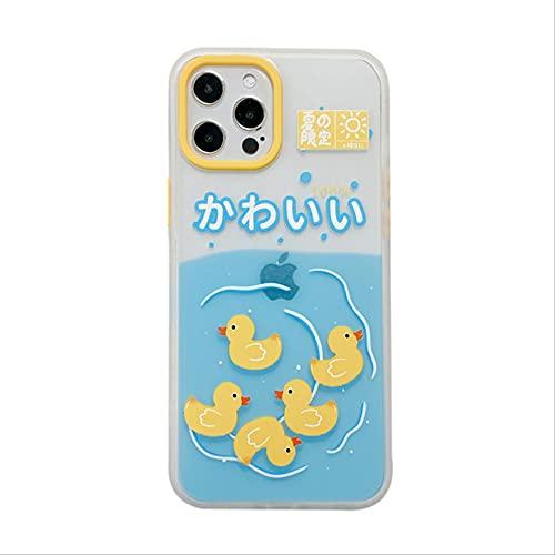 Carcasa Transparente Anti caída para teléfono de Dibujos Animados para iPhone 12 11 Pro MAX X XR XS MAX Carcasa de Pato de natación para iPhone 7 8 Plus Funda Protectora iPhone 11 Pro MAX Clear