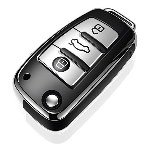 Tukellen for Audi Key Fob Cover Case,Premium Soft TPU 360 Degree Full Protection Key Shell Key Case Cover Compatible with Audi A1 A3 Q3 Q7 R8 A6L TT (only for Flip Key 3 Buttons)-Silver