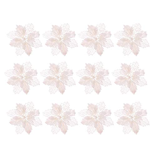 Toyvian 12pcs Glitter Poinsettia Artificial Christmas Poinsettia Flower Christmas Tree Decorations Ornaments (White)
