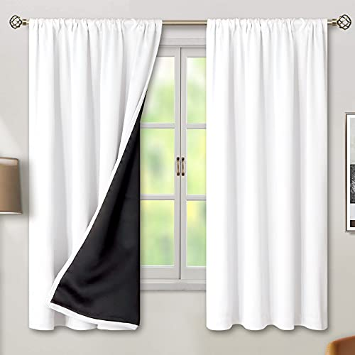 BGment Thermal Insulated 100% Blackout Curtains for Bedroom with Black Liner, Double Layer Full Room Darkening Noise Reducing Rod Pocket Curtain (52 x 63 Inch, Pure White, 2 Panels)