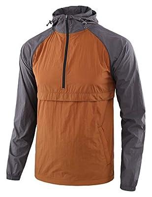Estepoba Men's Lightweight Waterproof Zip Hoodie Rain Jacket Anorak Windbreaker Caramel Khaki/Charcoal Gray L