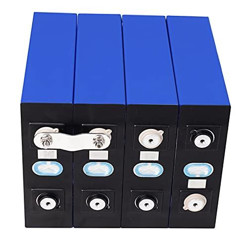RIYIFER Lifepo4 Baterías de Coche 3.2V 100AH Celda Litio Hierro Fosfato Solar,con Tuerca de Acero Inoxidable 304 y Placa de cableado de Cobre,Nuevo Paquete De Batería,4pcs,100Ah/3.2v