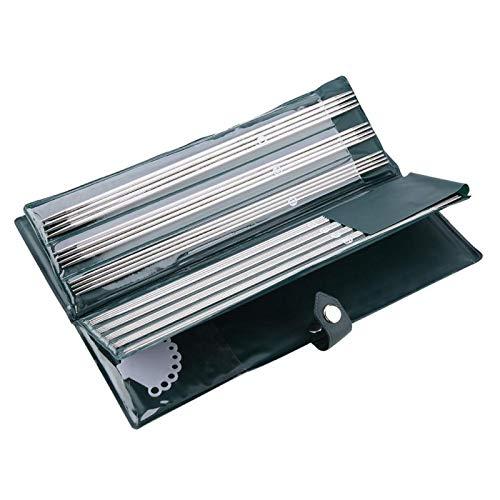 Aguja de tejer, 11 tamaños de agujas de tejer de doble punta para proyectos pequeños y principiantes, juego de agujas de metal para calcetines 1,5 mm-5 mm 9,8/14,1 pulgadas (25 cm) 44 piezas(25cm)