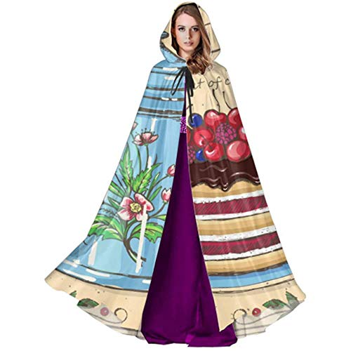 Zome Lag Vampir kostuum, volwassene Deluxe omhang,hekmagie omhang,kap met capuchon, Tea Time Berry Cake theepot damesomhang met capuchon casual hooded cloak