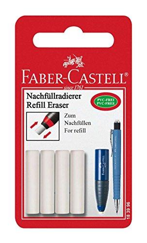 Faber-Castell 523011 Lot de 4 Gommes de Recharge Blanc