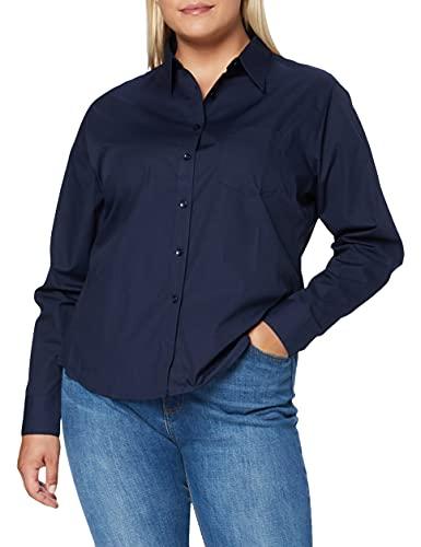 Fruit of the Loom Poplin, Camisa para Mujer, Azul (Marino), Medium