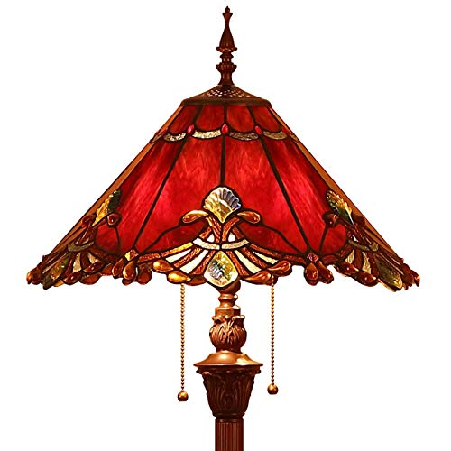 Bieye L10242 Baroque Tiffany Style Stained Glass Floor Lamp with 17-inch Wide Lampshade, 65-inch Tall (Red)